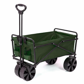 SEINA Collapsible Steel Frame Folding Utility Beach Wagon Outdoor Cart in Green