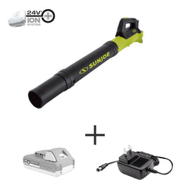 Sun Joe 100 MPH 280 CFM 24-Volt Turbine Cordless Jet Blower Kit with 2.0 Ah Battery + Charger