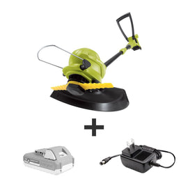 Sun Joe 10 in. 24-Volt Cordless Sharper Blade Stringless Lawn Trimmer Kit with 2.0 Ah Battery Plus Charger