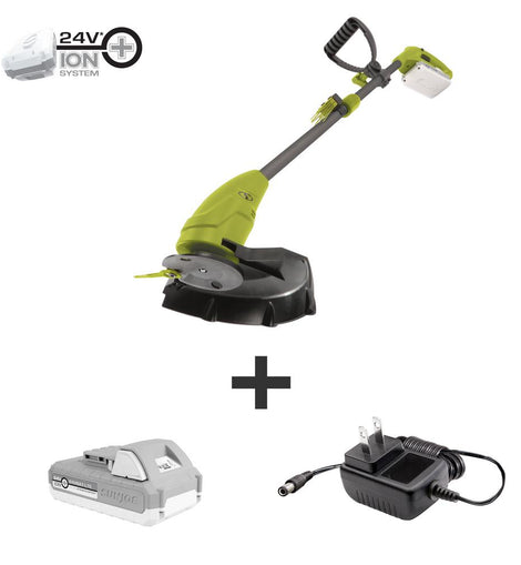 Sun Joe 10 in. 24-Volt Cordless Lightweight Stringless Grass Trimmer Kit with 2.0 Ah Battery Plus Charger