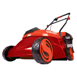 Sun Joe 14 in. 28-Volt Cordless Walk-Behind Push Mower Kit with 5.0 Ah Battery + Charger, Red