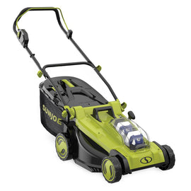 Sun Joe 17 in. 48-Volt iON+ Cordless Electric Walk Behind Push Lawn Mower Kit with 2 x 4.0 Ah Batteries Plus Charger