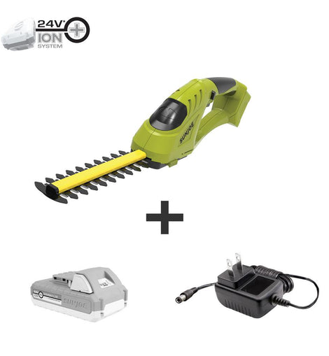 Sun Joe 24-Volt Cordless Handheld Shear Shrubber, Trimmer, Edger Kit with 2.0 Ah Battery plus Charger