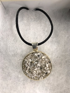Round Medallion Necklace w/ Recycled Granite Mica