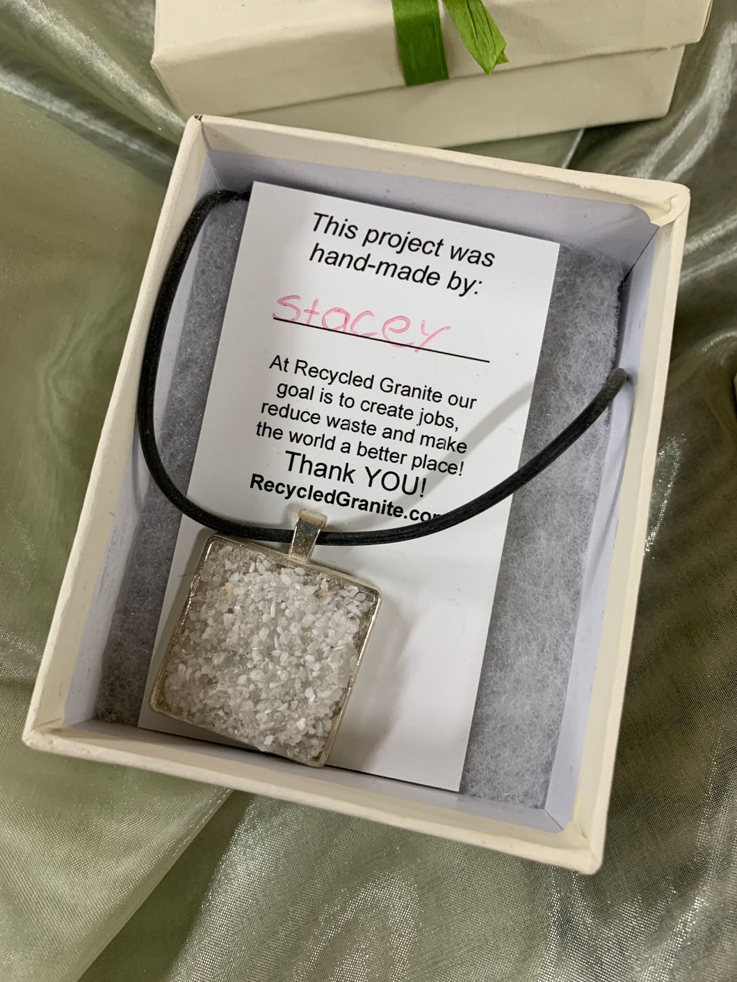 Square Necklace w/ Recycled Granite Mica