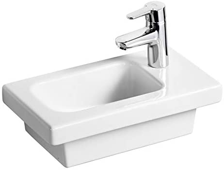 Ideal Standard E133401 White Concept Space 450 mm Guest Furniture Pedestal Washbasin, Right Hand 1 Tap Hole