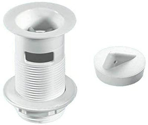 "McAlpine 1̴_"" White Plastic Backnut Basin Waste with Stainless Steel Flange W1"