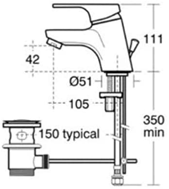 Ideal Standard Alto Basin Mixer with Pop-Up Waste B8529