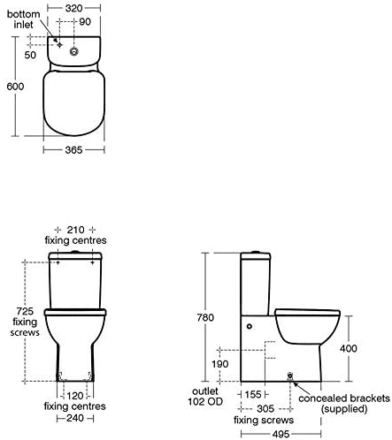 Ideal Standard T328701 Tempo Close Coupled Back to Wall Pan