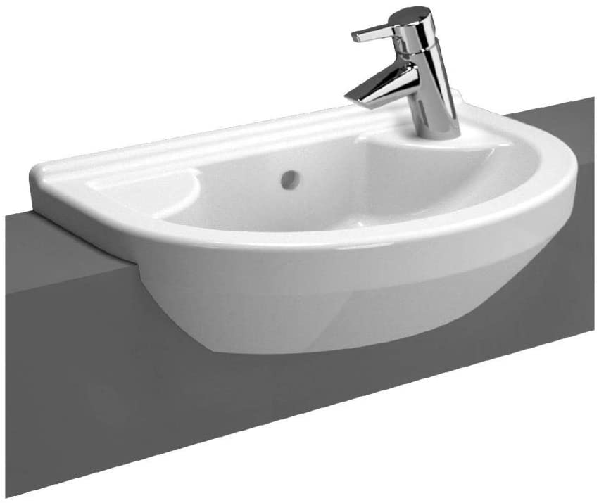 VitrA S50 White 55x36cm One Right Hand Tap Hole Round Compact Semi Recessed Basin