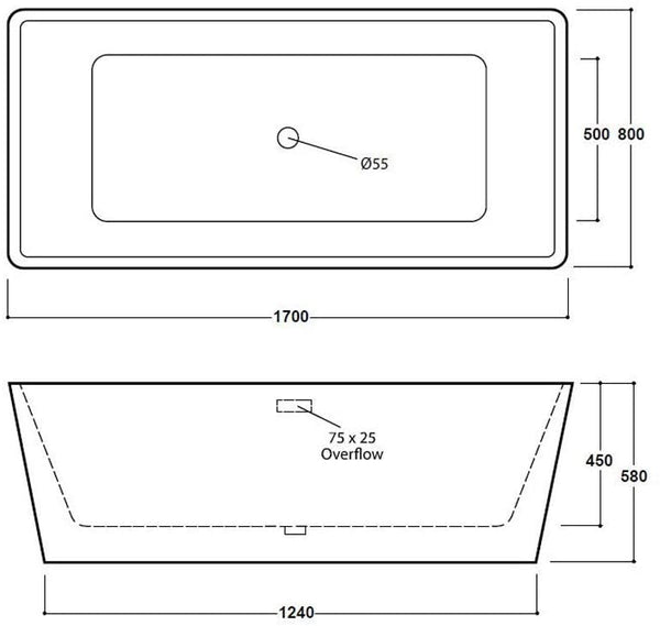 Synergy Lido 1700mm Modern Double Ended Bath SY-FSB404