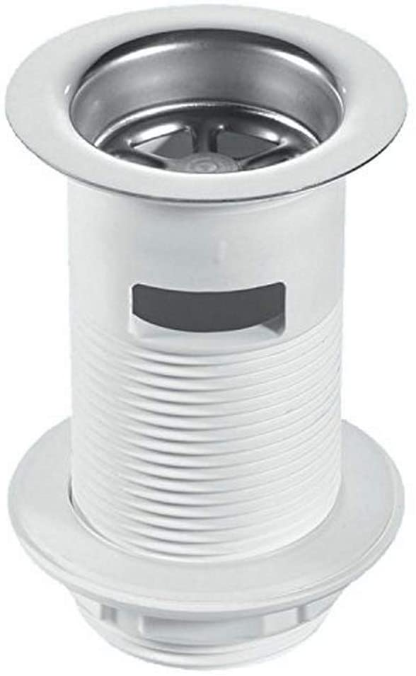McAlpine BSW2 Unslotted Backnut Basin Waste with Stainless Steel Flange, White