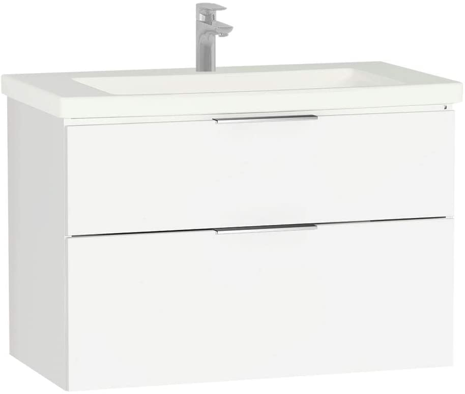 Vitra Ecora Furniture White 90cm Two Drawer Washbasin Unit