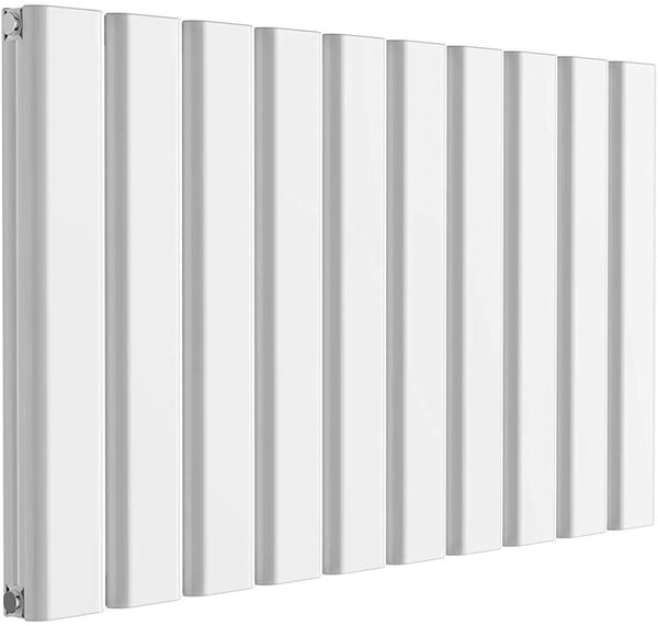 Reina Vicari Aluminium White Double Panel Horizontal Designer Radiator 600mm x 1000mm - Central Heating