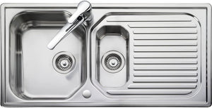Leisure Aqualine AQ9852 Top-Mounted Sink Rectangular Stainless Steel ‰ۡóÁÌÎ̝ÌÎ̥ Sink (Top-Mounted Sink, Rectangular, Stainless Steel, 2 Bowls, Rectangular)