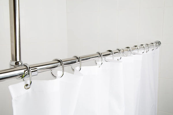 Croydex Superline Stainless Steel Modular Shower Rod Kit with Ceiling Support and Curtain Rings Can Be Fitted L-Shaped, Large L-Shaped, U-Shaped or Straight