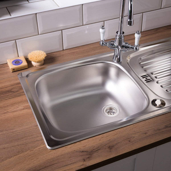 Leisure Euroline EL860NC 860 x 435mm Single Bowl Compact Kitchen Sink - Stainless Steel