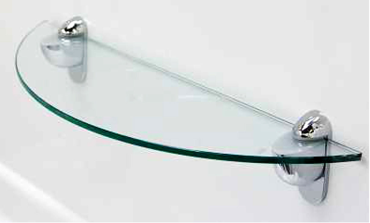 Clear Bevelled Edge Glass Shelf, Half Moon, 6mm x 400mm x 120mm (Product Code: 01080026)