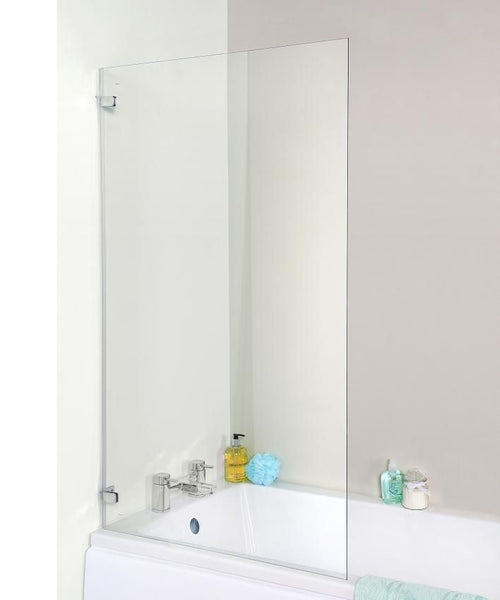 Satin Chrome Square Bath Screen, Hinges from the Wall (Product Code ERSSQ)