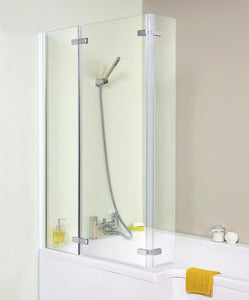 Satin Chrome Square Hinged P-Shaped Bath Screen (Product Code: ERSBS0)