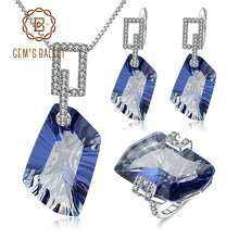 Load image into Gallery viewer, Premier Silver Set - Absolutely Stunning 63.59Ct Natural Iolite Blue Mystic Quartz 925 Sterling Silver Necklace Earrings Ring Gemstone Jewellery Set N.Y. - LizaLoves.com