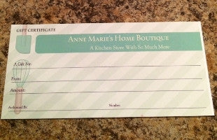 Anne Marie's Gift Certificate