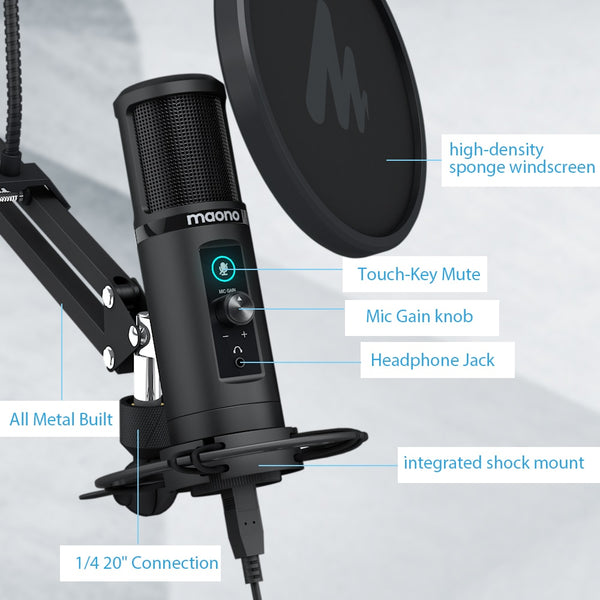 USB Condenser Microphone With Touch Mute Button