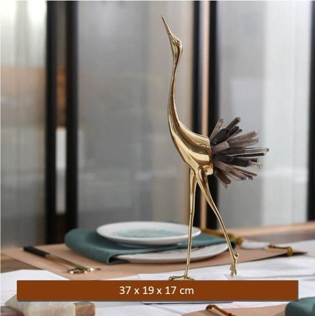 Copper Flamingo With Crystal Tail Feathers