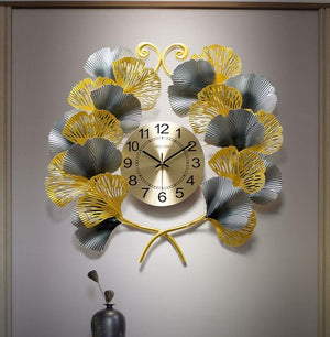 Ginkgo Branches Wrought Iron Clock