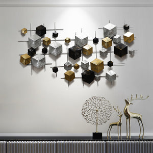 3D Blocks Wrought Iron Wall Art