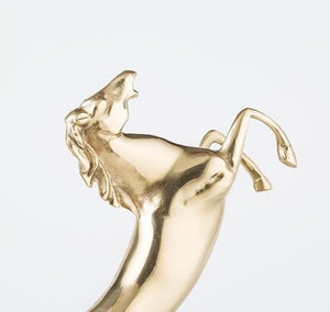 Golden Horse With Marble Base