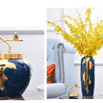 Amazing Blue Vase With Gold Pealing
