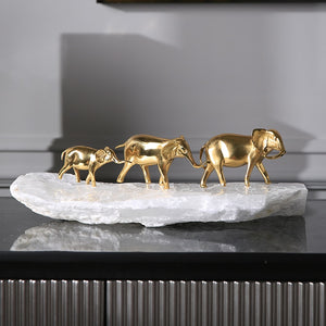 Golden Elephants with Natural Stone Base