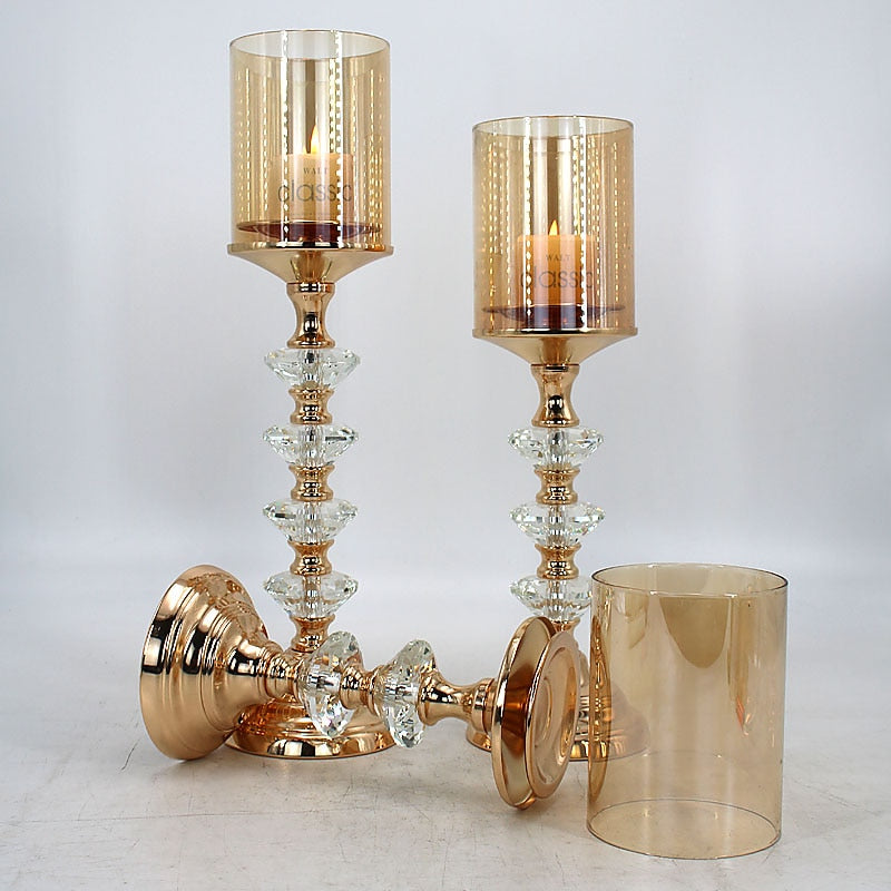 Crystal Golden Candle Holders