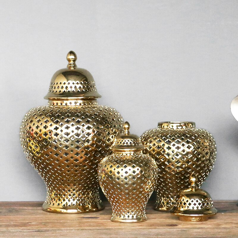 Vintage Golden Ginger Jar