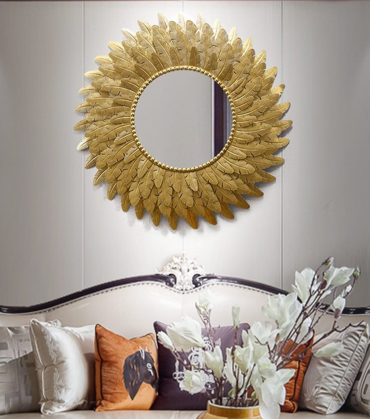 Golden Sun Flower Wall Mirror