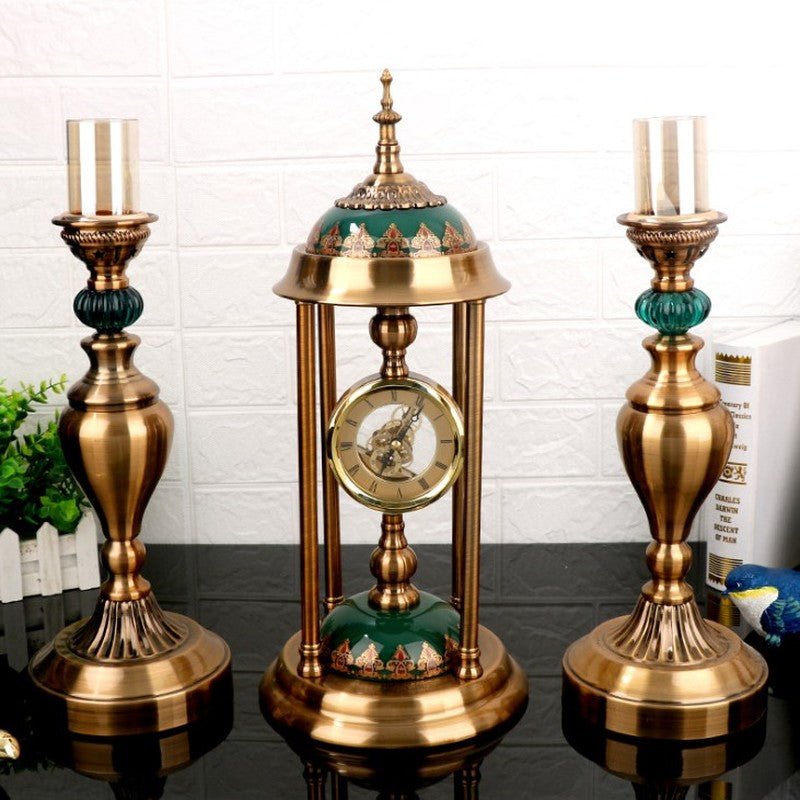 Clock With Matching Candle Holders