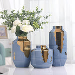 Baby Blue with Gold Pealing Vase