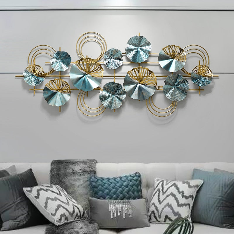 Teal and Gold Wrought Iron Wall Art