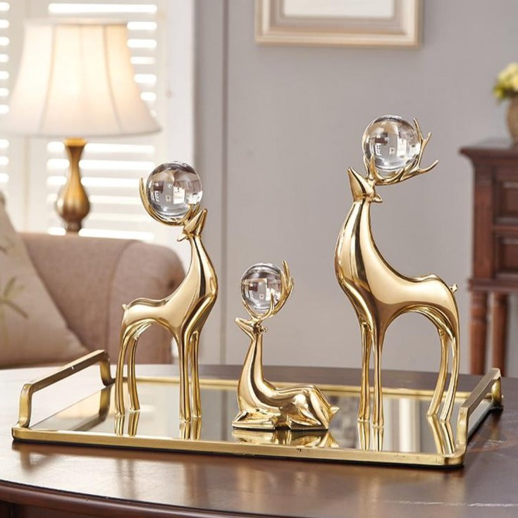 High End Copper Deer with Crystal Balls