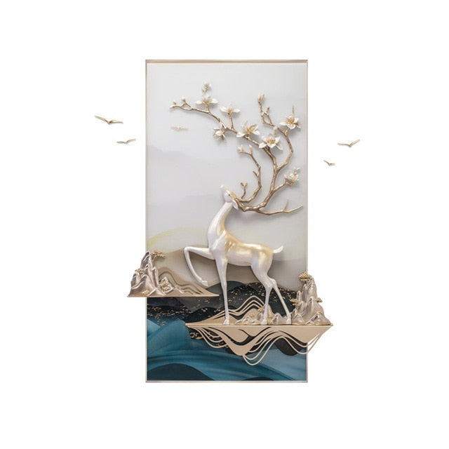Beautiful Deer Resin Frame With Birds Flying Out