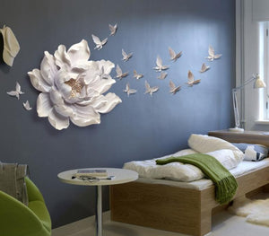 Giant Flower with Birds Wall Art