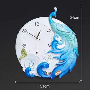 Resin Peacock Wall Clock