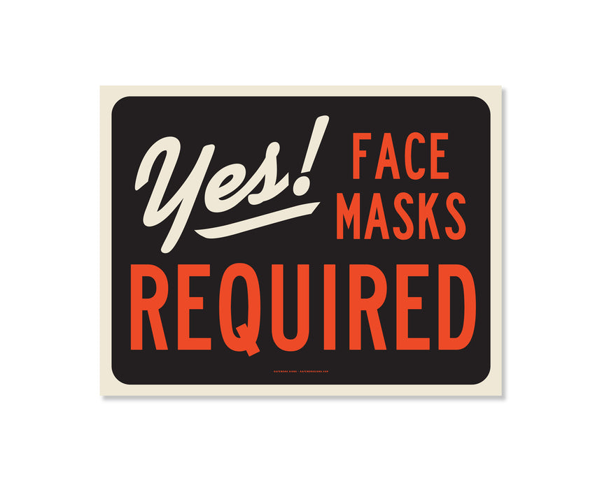 11x8.5 Decal: Yes! Face Masks Required