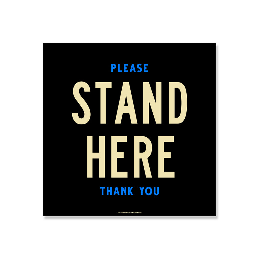11x11 Floor Decal: Please Stand Here