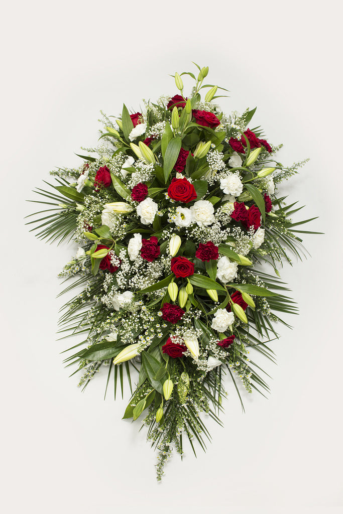 Red And White Coffin Spray The Signature Florist