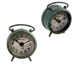 U at Home Antique Green Iron Table Clock