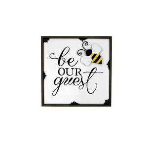 "U at Home ""Be our guest"" Bee Plaque"