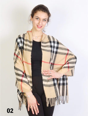 U at Home Beige-Plaid Cashmere Feeling Scarf