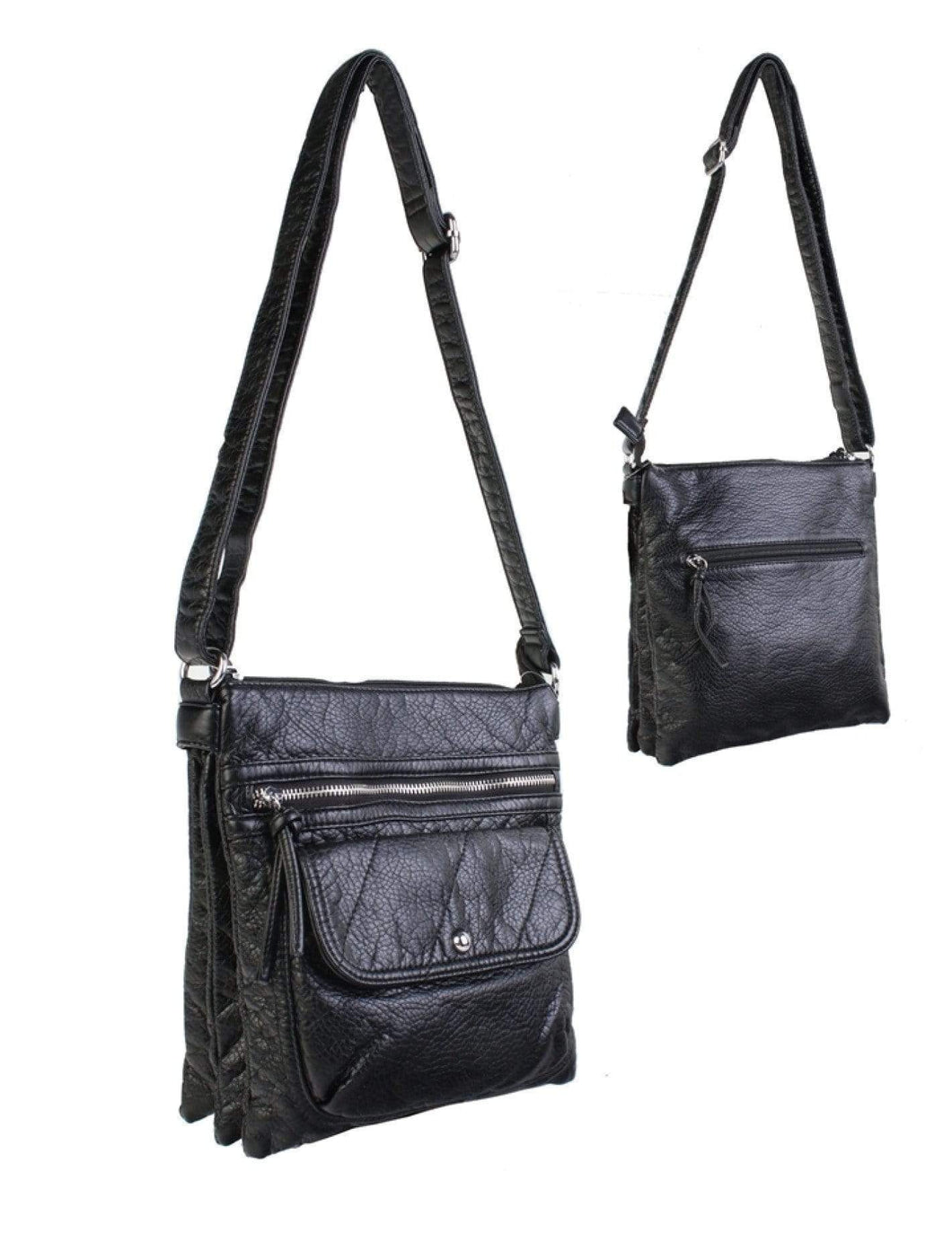 U at Home Black-Solid Faux Leather Front Pocket Satchel